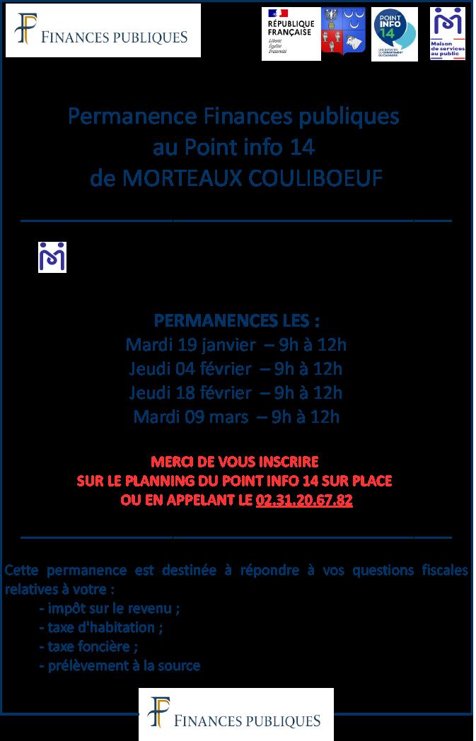 Permanence Finances publiques @ Maison de services au public Point Info 14 Morteaux-Couliboeuf