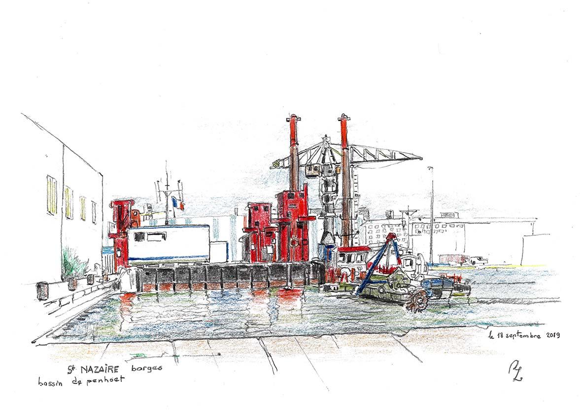 """""""Barges St Nazaire"""", Dessin graphite et crayon de couleur , A3 dans cadre 40/50 Prix de vente 275 euros (cadre offert)"""