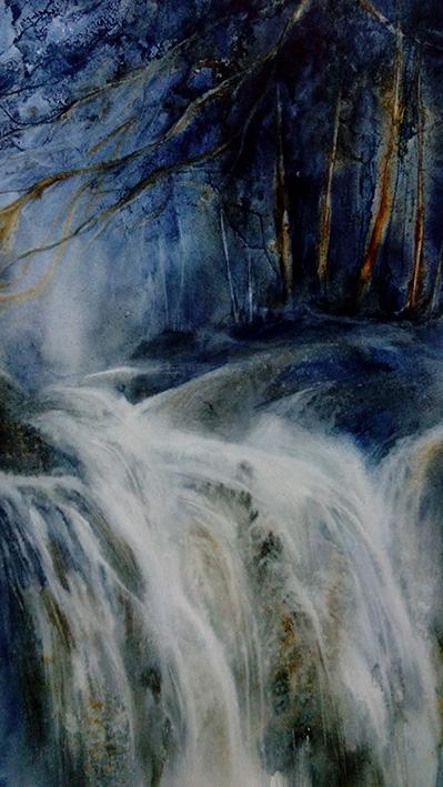 """""""Cascade"""", Aquarelle 50 x 70 , Prix de vente 200 euros (avec cadre), 180 euros (sans cadre)"""