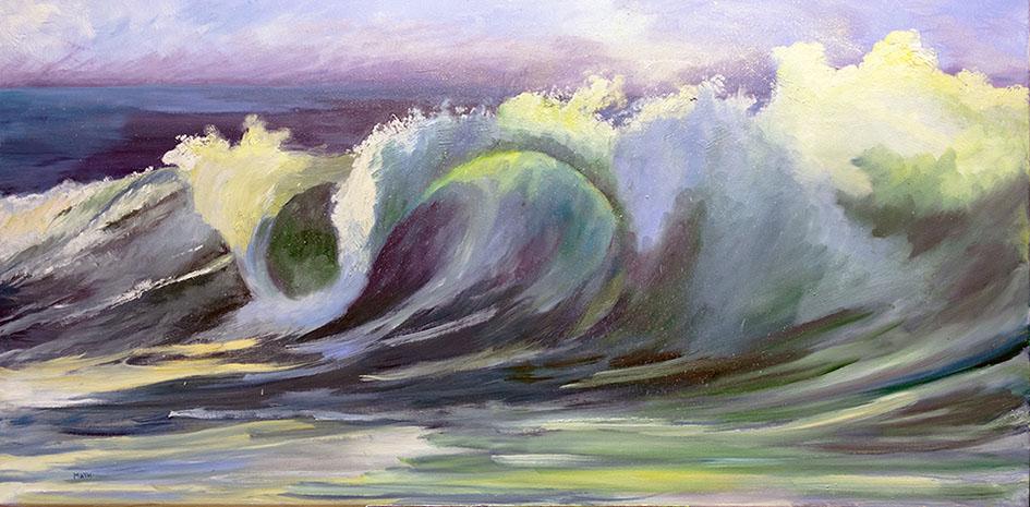 """""""La vague du surfeur"""" , Huile 100 x 50 , Prix de vente 670 euros (sans cadre)"""