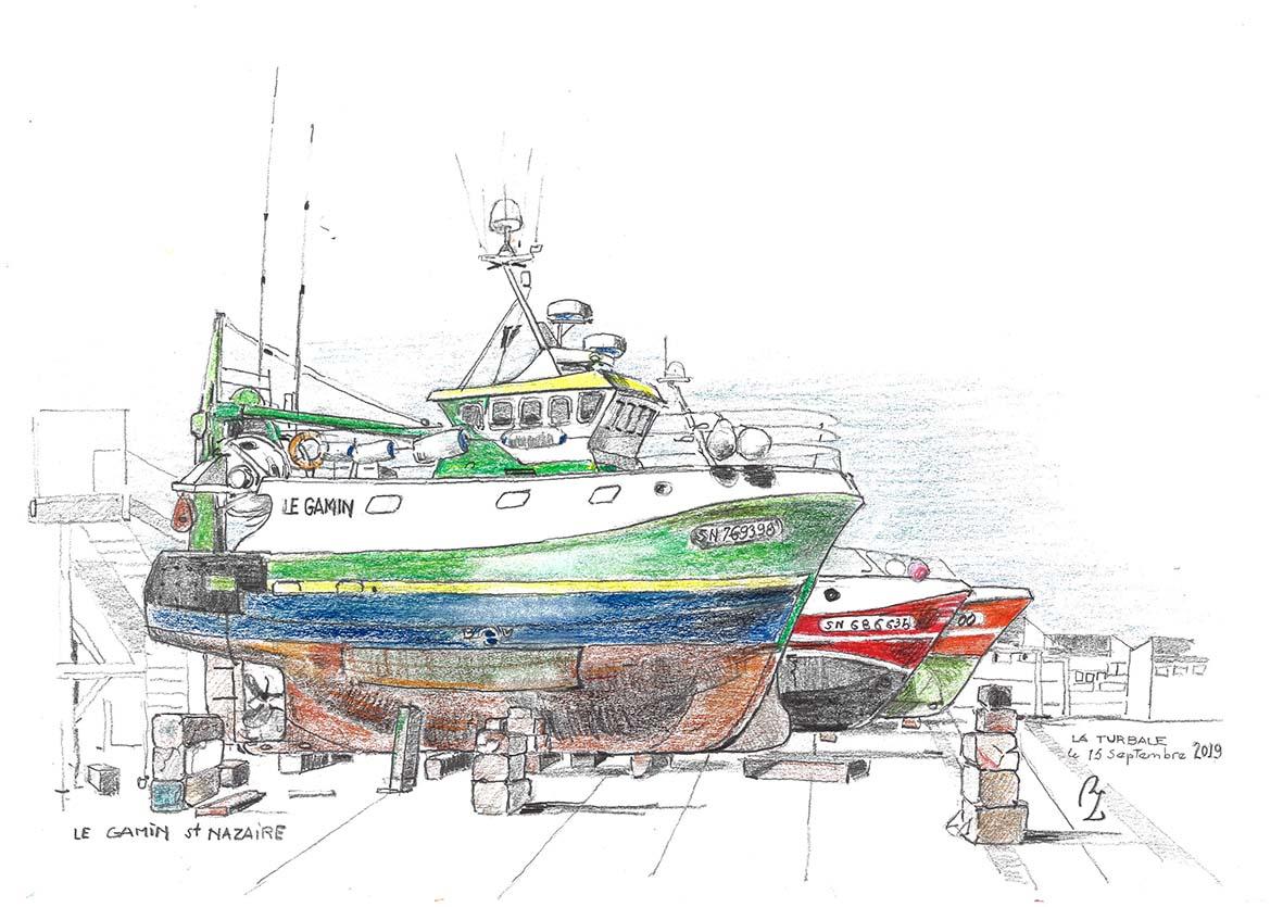 """""""Le Gamin en chantier à St Nazaire"""", Dessin graphite et crayon de couleur , A3 dans cadre 40/50 Collection privée"""