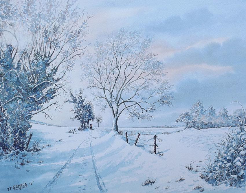 """""""Neige en février à Nécy"""", 50 x 65 , Prix de vente 380 euros (avec cadre)"""