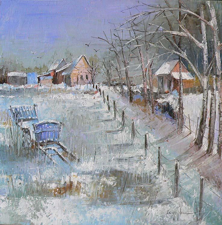 """""""N° 252 Un matin d'hiver"""", Huile - 40 x 40 , Prix de vente 440 euros (sans cadre)"""