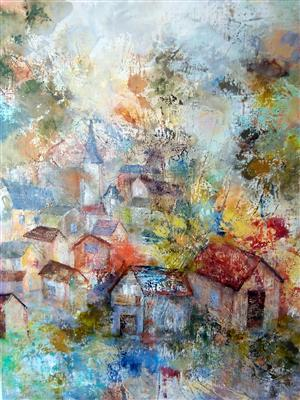"""Village normand"", 60 x 74 , Prix de vente 420 euros"