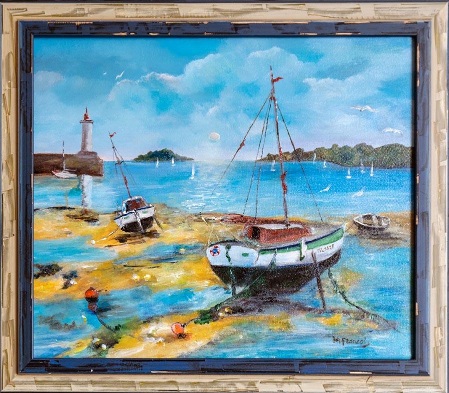 """Port breton"" , Acrylique - 38 x 46 , Prix de vente 400 euros (sans cadre), 450 euros (avec cadre)"