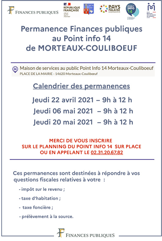 Permanence Finances publiques @ Maison de services au public Point Info 14 Morteaux-Couliboeuf