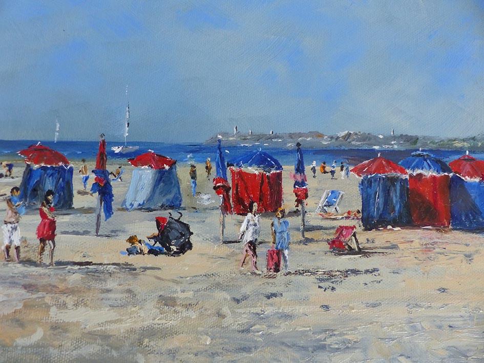 """""""Deauville et ses toiles"""" , huile sur toile - 30 x 30 , Prix de vente 410 euros (sans cadre)"""