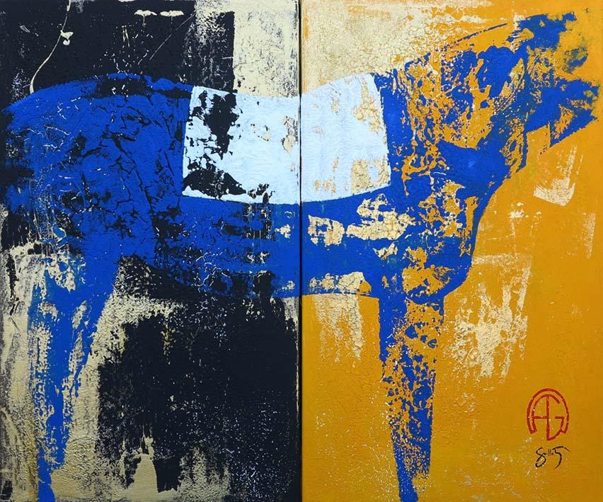 """Diptyque cheval bleu"" , Acrylique - 120 x 100 , Prix de vente 2000 euros (sans cadre)"