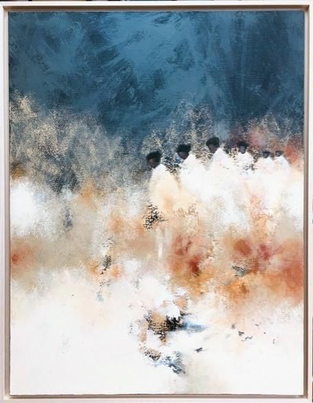 """""""Les êtres de lumière"""" , Technique mixte - 89 X 116 , Prix de vente 2000 euros (avec cadre)"""