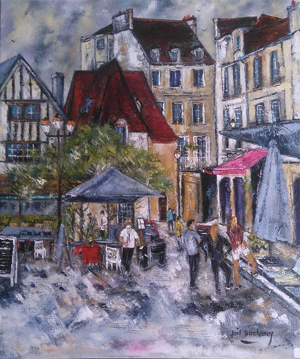 """""""LeVaugueux à Caen"""", Huile - 65 x 54 , Prix de vente 450 euros ( sans cadre)"""