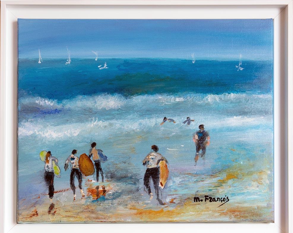 """""""Les surfeurs à Hossegor"""" , Acrylique - 38 x 46 , Prix de vente 400 euros (sans cadre), 450 euros (avec cadre)"""
