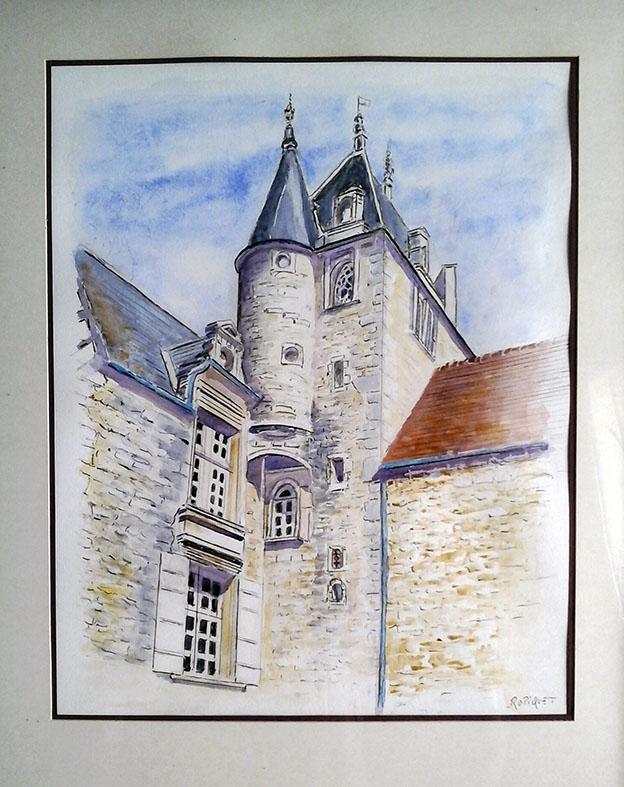 """""""Manoir de Beaumais"""" , Aquarelle - 40 x 50 , Prix de vente 200 euros (avec cadre)"""