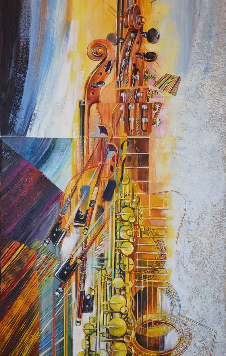 """""""Métamorphose III (détail)"""" , huile sur toile - 200 x 56 , Réserve de l'artiste."""