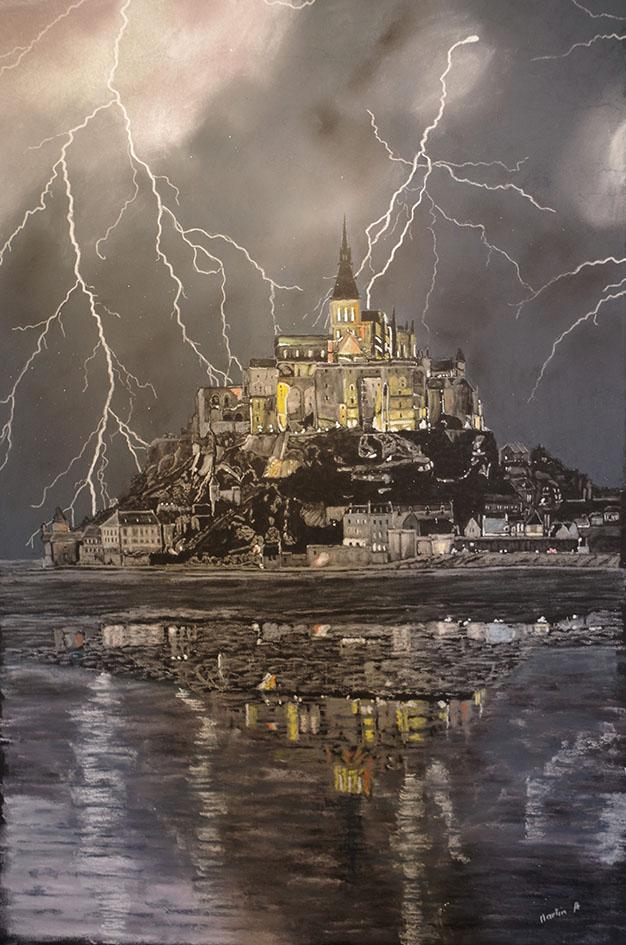 """""""Mont Saint-Michel Orage"""", Pastel sec - 50 x 70"""