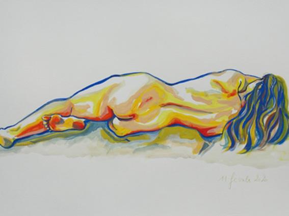 """""""Nu allongé"""", dessin à la gouache sur papier 300g/m2 , 65 x 50 , Prix de vente 260 euros (sans cadre)"""