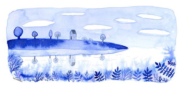 """""""Paysage bleu"""" , Technique mixte sur papier - encre et crayon - 20 x 10 , Prix de vente 75 euros (sans cadre)"""