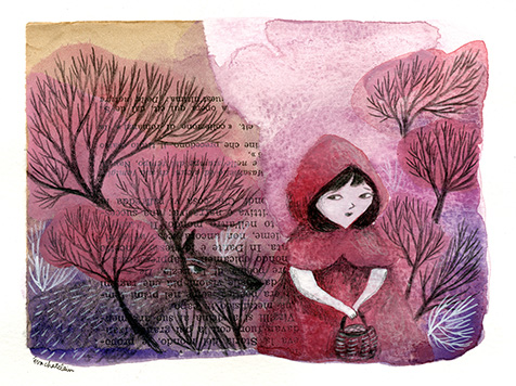 """""""Petit chaperon rouge"""" , Technique mixte sur papier - collage, aquarelle, crayon, peinture acrylique - 15,7 x 12 , Prix de vente 80 euros (sans cadre)"""