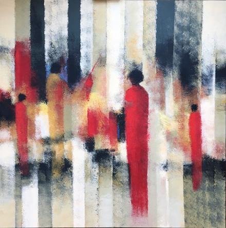 """""""Tranches de vie"""" , Technique mixte - 120 x 120 , Prix de vente  2500 euros"""