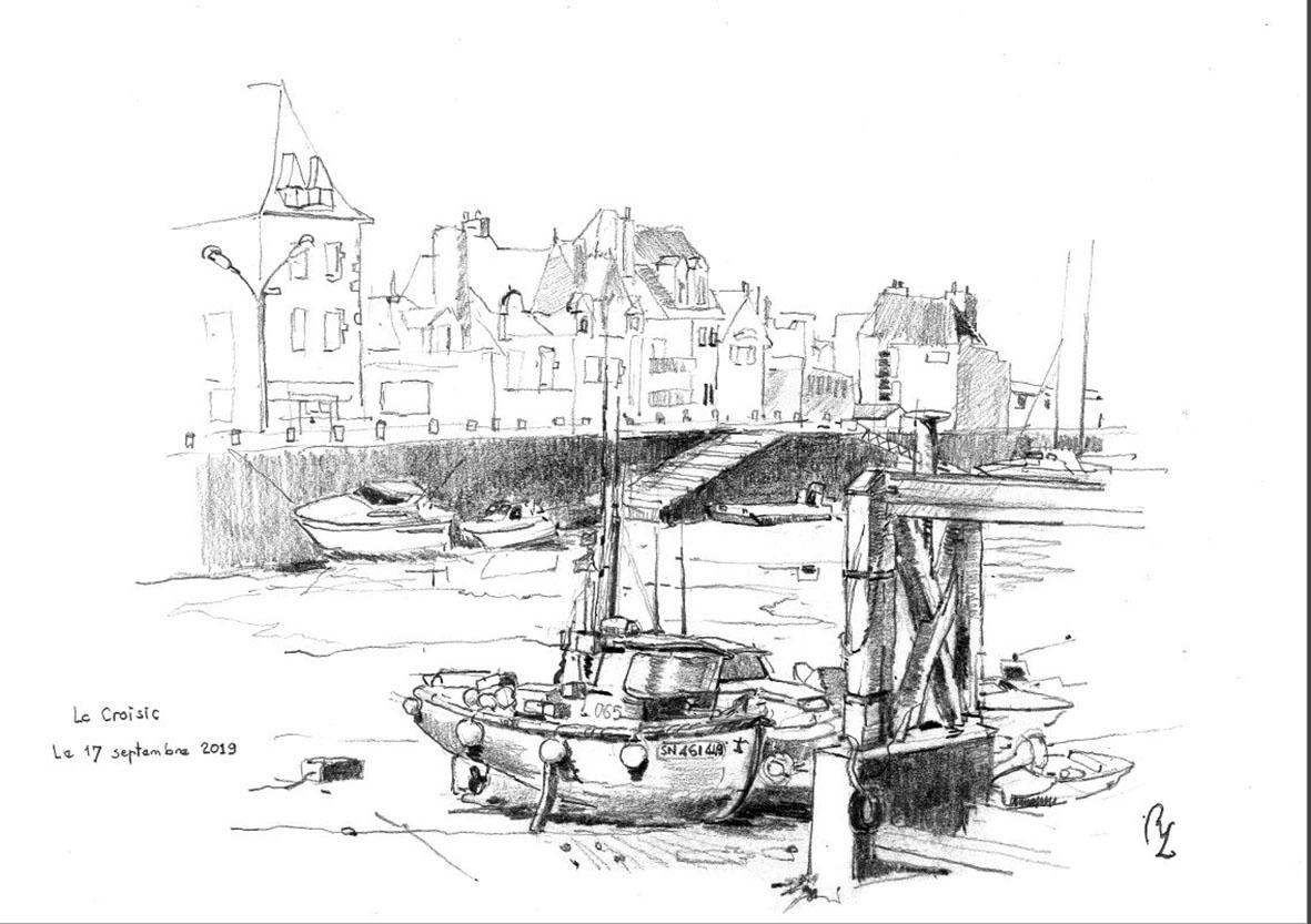"""""""Bassin du Croisic a maree basse"""", Dessin graphique  A3 dans cadre 49/50 , Collection privée"""
