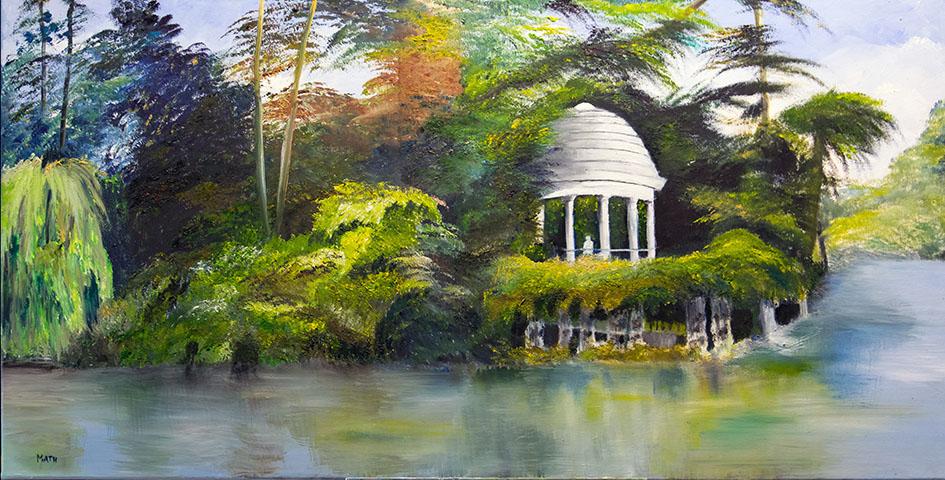 """'L'île de Reuilly - Bois de Vincennes"""" , Huile 100 x 50 , Prix de vente 670 euros (sans cadre)"""