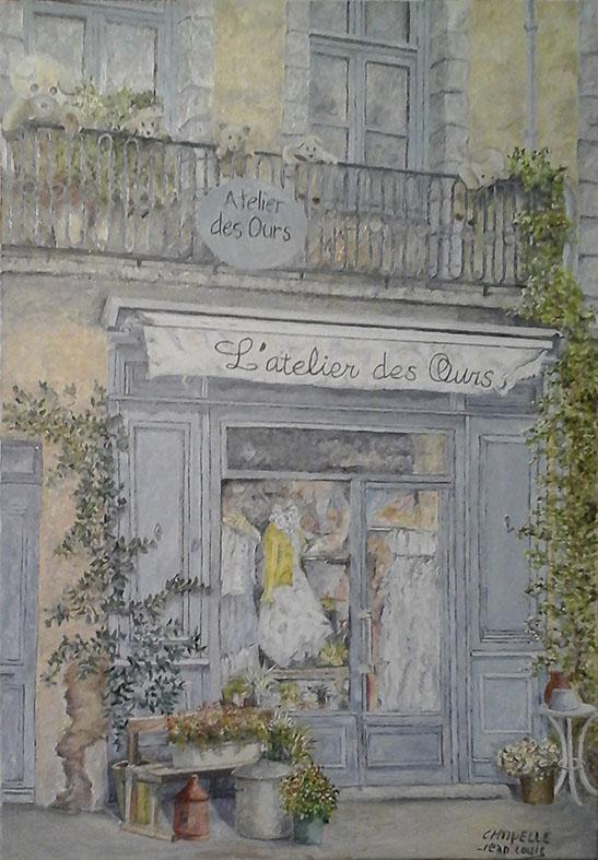 """""""L'atelier des ours"""", huile sur toile , Prix de vente 300 euros"""