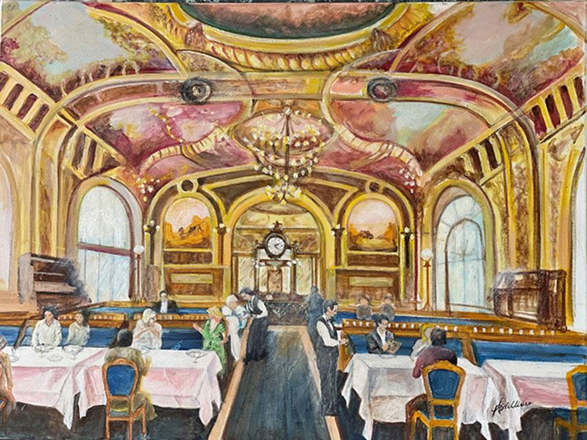 """""""Restaurant Le train bleu"""", Acrylique 80 x 60"""