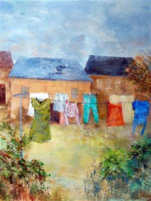 """""""Séchage au jardin"""", 60 x 70 , Prix de vente 420 euros"""