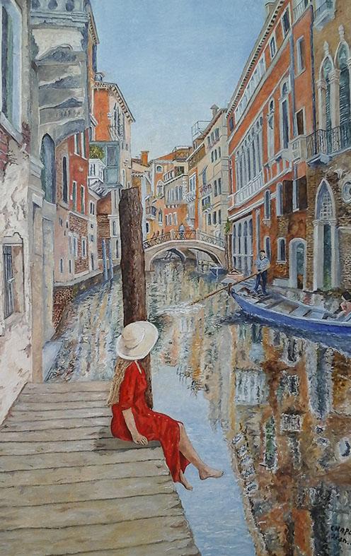 """""""La robe rouge à Venise"""", Huile sur toile , réservé"""