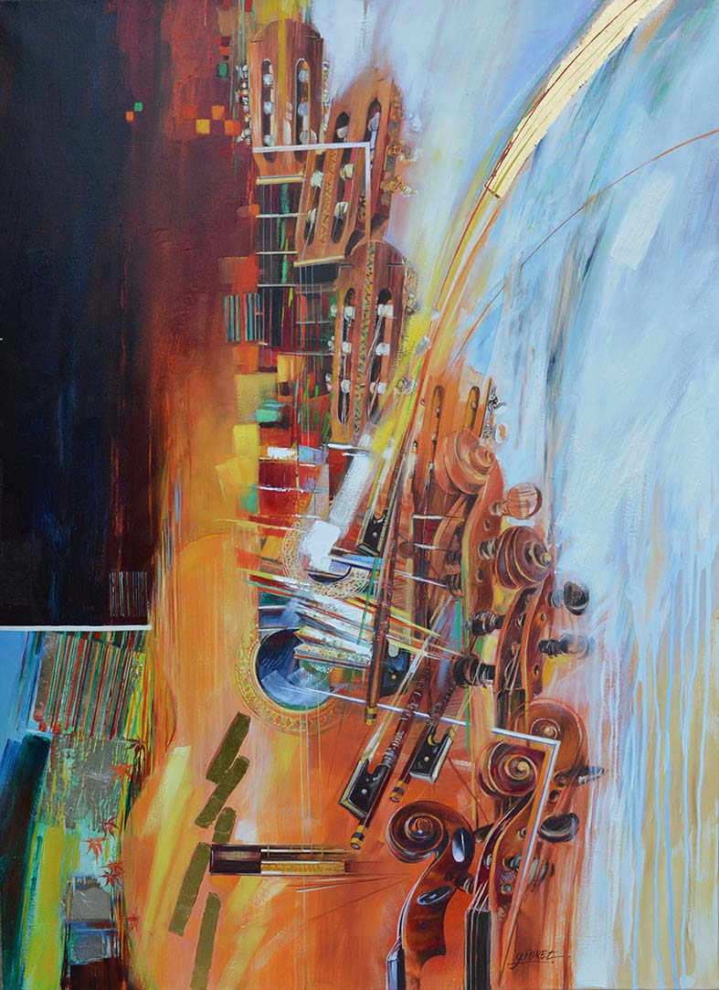 """""""Aranjuez"""" , Huile et feuille d'or sur toile - 73 x 100 , Réserve de l'artiste"""