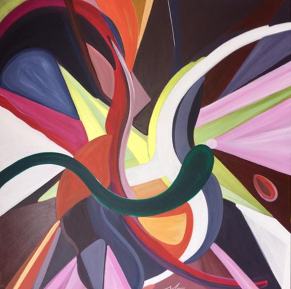 """""""Danse de tous les sens"""" , Acrylique - 100 x 100 , Prix de vente 155 euros"""