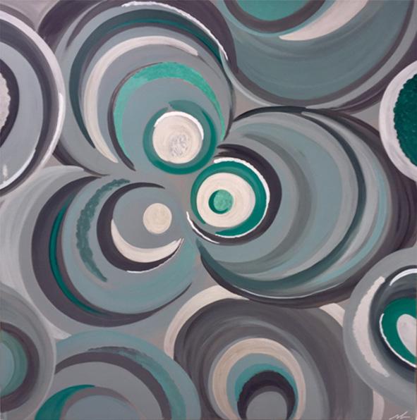 """""""Flaques d'eau"""" , Acrylique - 100 x 100 , Prix de vente 155 euros"""