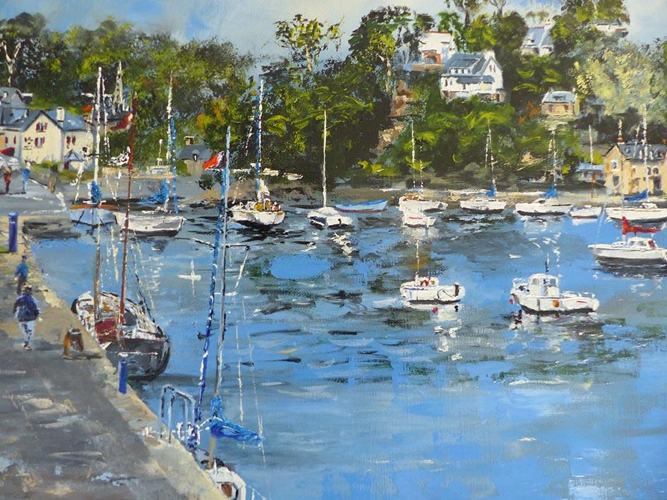 """""""Le Port de Pont Aven"""" , huile sur toile - 60 x 60 , Prix de vente 500 euros (sans cadre)"""