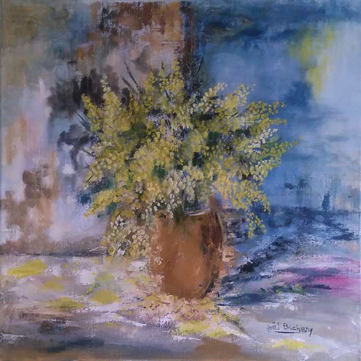 """Mimosas"" , Huile - 60 x 60 , Prix de vente 360 euros (sans cadre)"