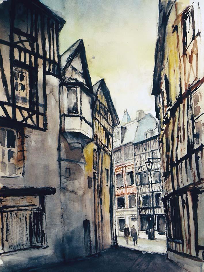 """Rue de Rouen"", Encres - 70 x 50 , Prix de vente 410 euros"