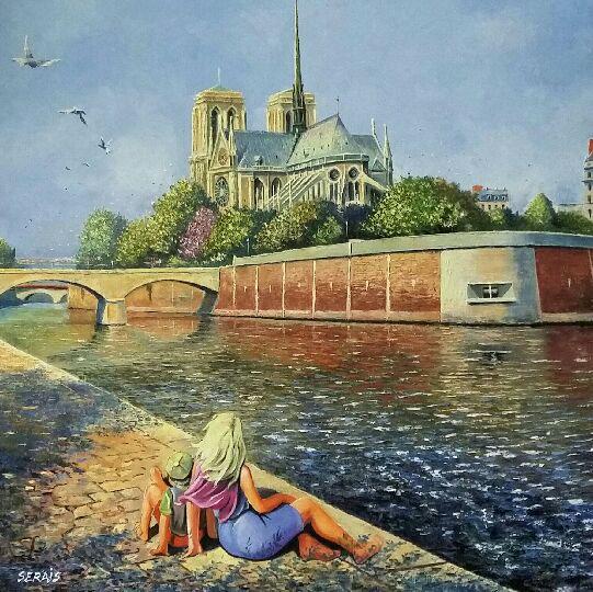 """""""Notre-Dame en son écrin de verdure"""" , Huile - 80 x 80 , Prix de vente 700 euros"""
