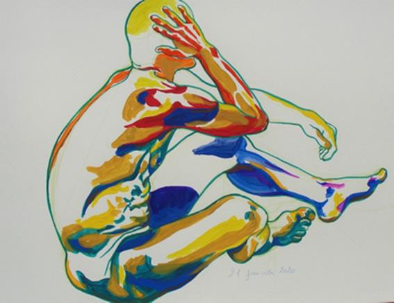 """""""Nu assis"""", dessin à la gouache sur papier 300g/m2 , 65 x 50 , Prix de vente 260 euros (sans cadre)"""