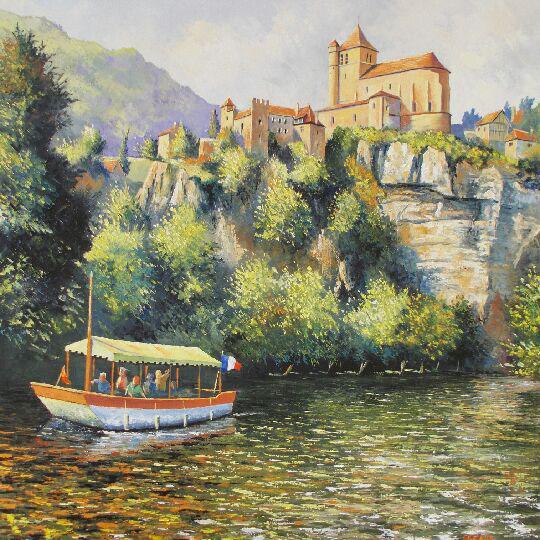 """Promenade fluviale au pied de Saint Cirq Lapopie"" , Huile - 80 x 80 , Prix de vente 800 euros"
