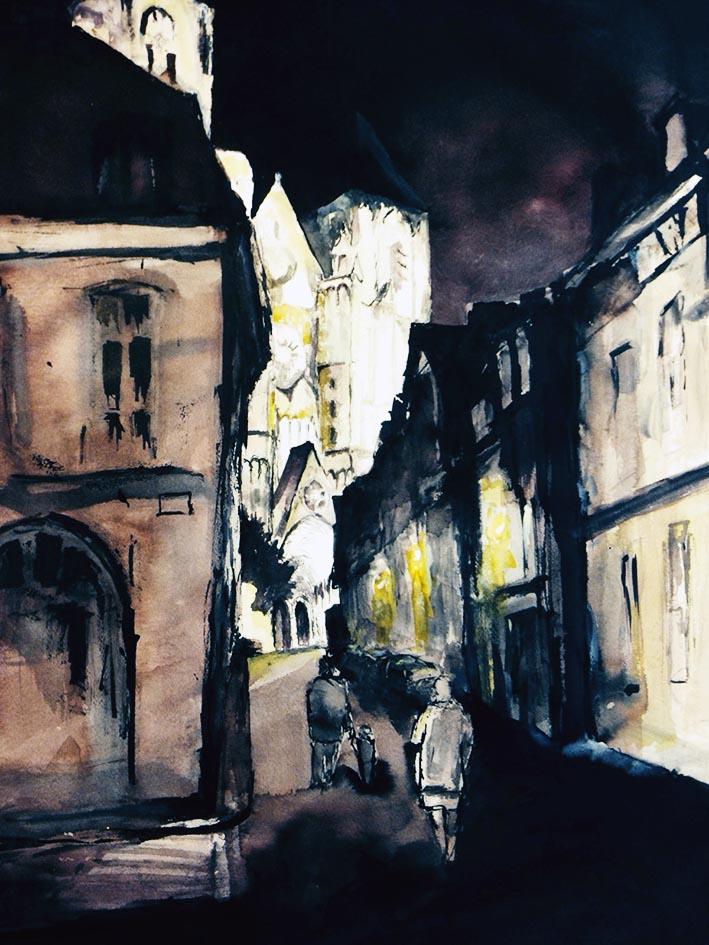 """""""'Nuit à Bourg"""" , Encres - 70 x 50 , Prix de vente 410 euros"""