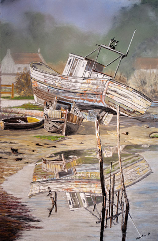 """Reflet bateau"", Pastel sec - 30 x 40"