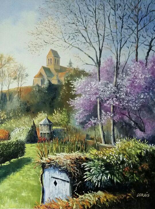 """""""Saint Céneri et son église au printemps"""" , Huile - 60 x 80 , Prix de vente 680 euros"""