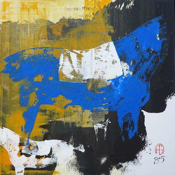 """""""Sur les traces équines 1"""" , Acrylique - 80 x 80 , Prix de vente 1400 euros (sans cadre)"""