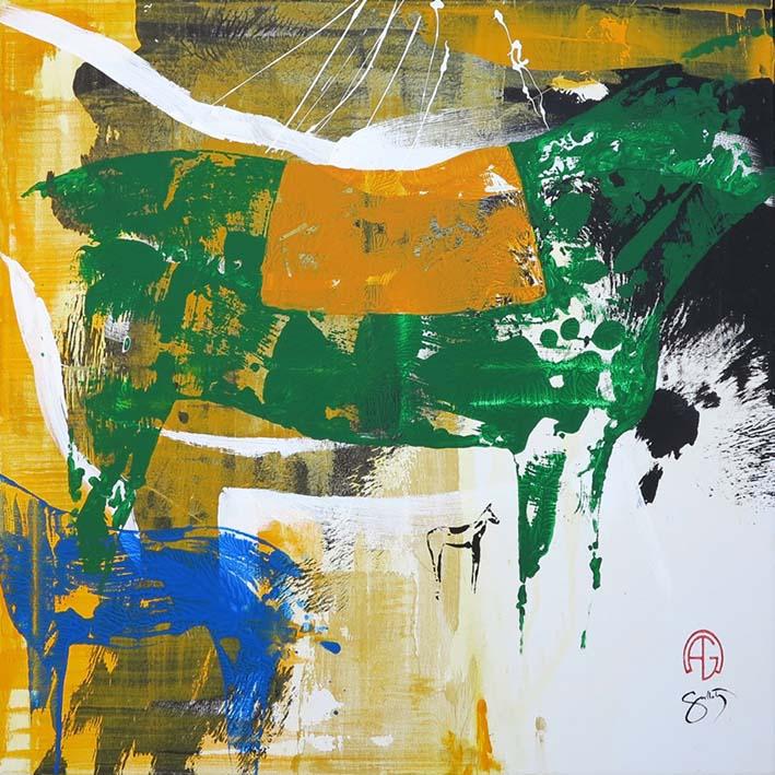"""""""Sur les traces équines 2""""    Acrylique - 80 x 80 , Prix de vente 1400 euros (sans cadre)"""